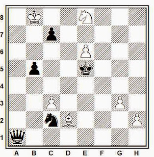 Estudio artístico de ajedrez compuesto por V. A. Korolkov y L. A. Mitrofanov (Primer premio, Szachy, 1962)