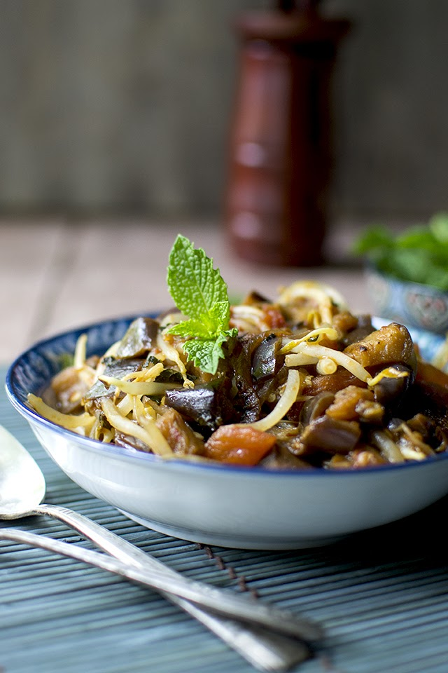 Eggplant with Tomatoes and Mint