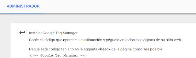 Instalación código Tag Manager