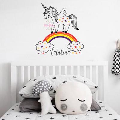 vinilo decorativo infantil unicornio arcoiris frase nombre decoracion habitacion bebe nena nene