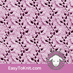 Eyelet Lace 34: Traveling Vine | Easy to knit #knittingetitches #eyeletlace