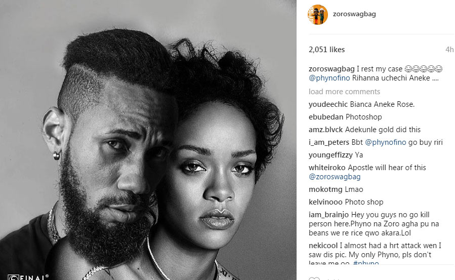 Apostle must hear this! Photoshopped pic of Phyno cuddled up with Rihanna