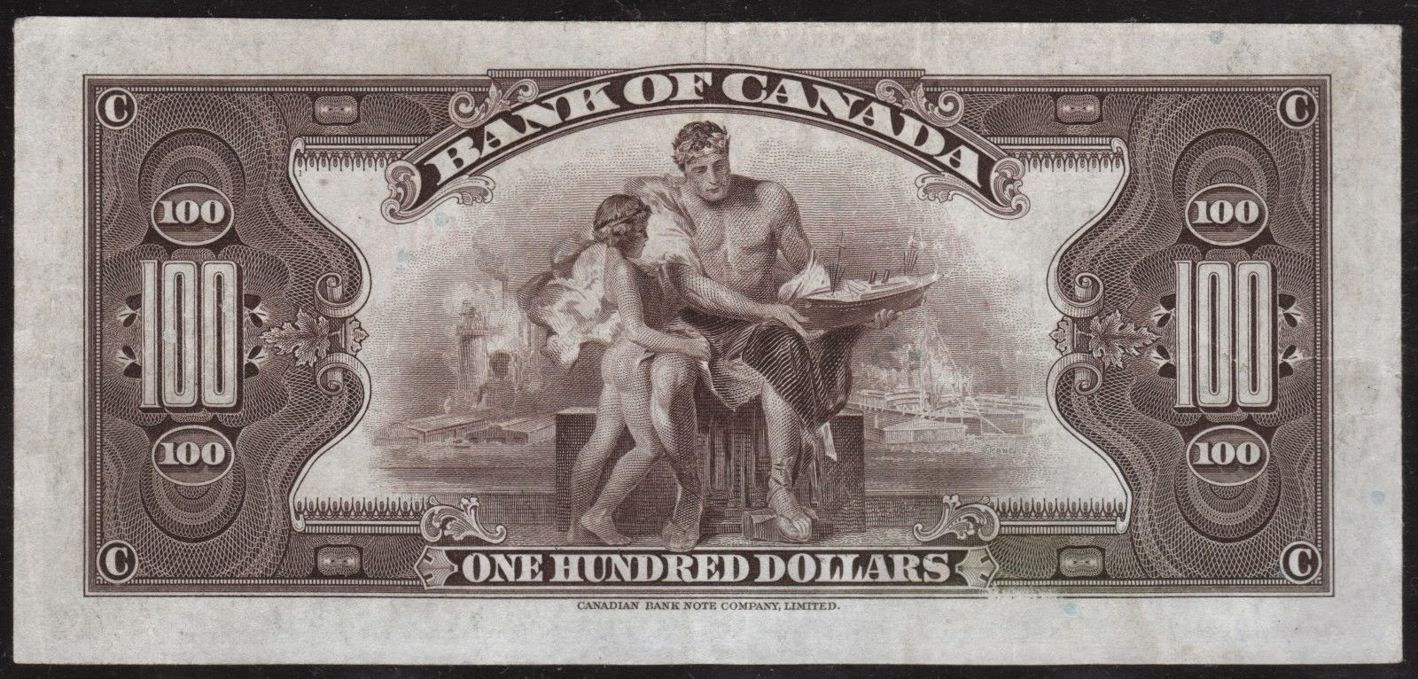 Bank of Canada 100 Dollar Bill Note 1935