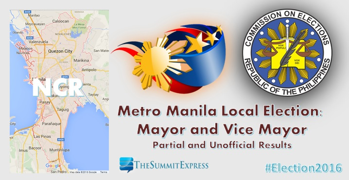 Metro Manila (NCR) Election 2016 Comelec results: Mayor, Vice Mayor