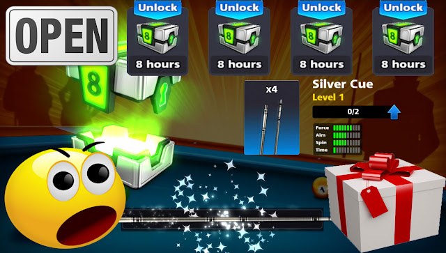Open 4 free boxes 8 ball pool and top excitement gifts