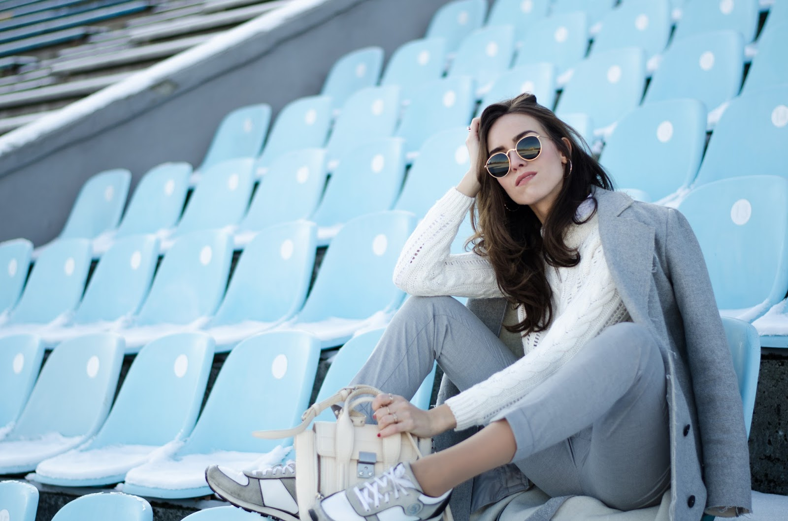 grey cigarette pants white sweater outfit
