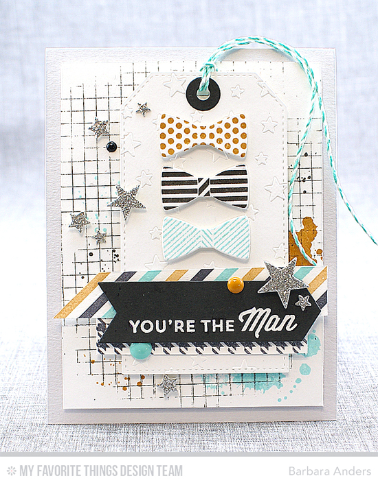 Handmade card from Barbara Anders featuring Distressed Patterns, Plaid Background Builder stamp sets, Lisa Johnson Designs Terrific Ties stamp set and Die-namics, Houndstooth Background stamp, Traditional Tag STAX, Blueprints 7, Blueprints 11, Blueprints 18, and  Blueprints 25 Die-namics, and Star Celebration Stencil #mftstamps