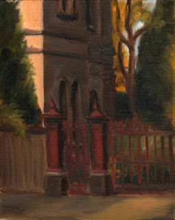 Oil painting of Victorian-era gateposts and fence with gardens and part of a large Victorian-era house.