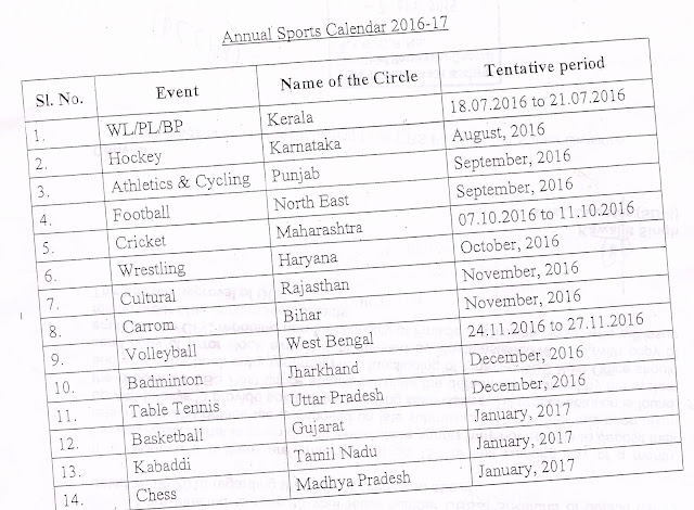 Annual Sports Calendar of Dept of Posts for the year 2016