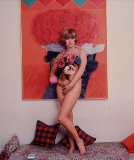 Pauline Boty, naked with flowers, by Lewis Morley