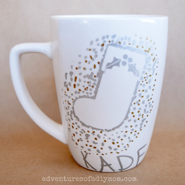 easy christmas gift - stocking mug with paint markers