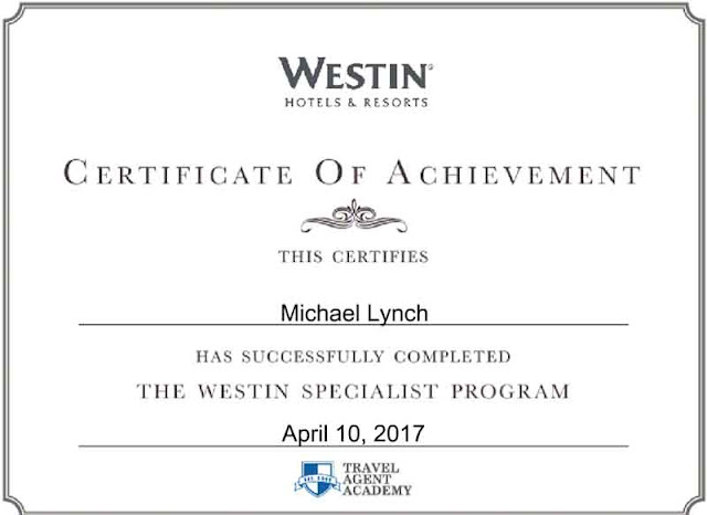 Westin Hotels and Resorts Certificate