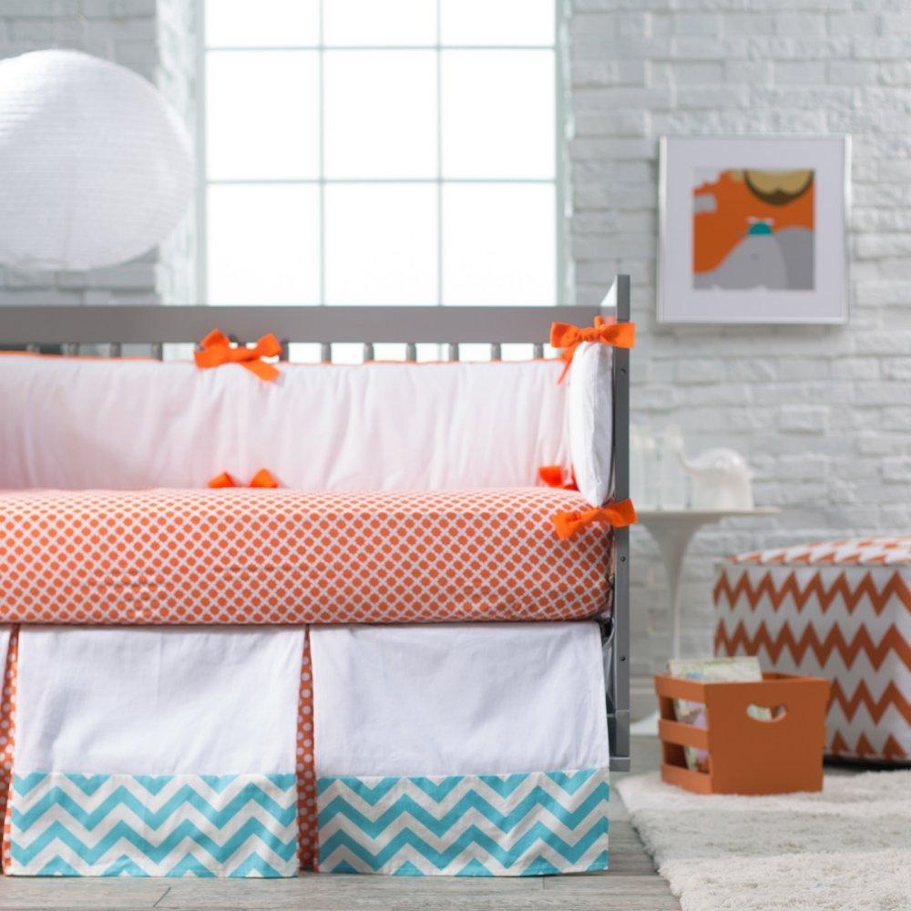 Luxury Blue And Orange Nursery Bedding New Arrivals Crush Crib Set