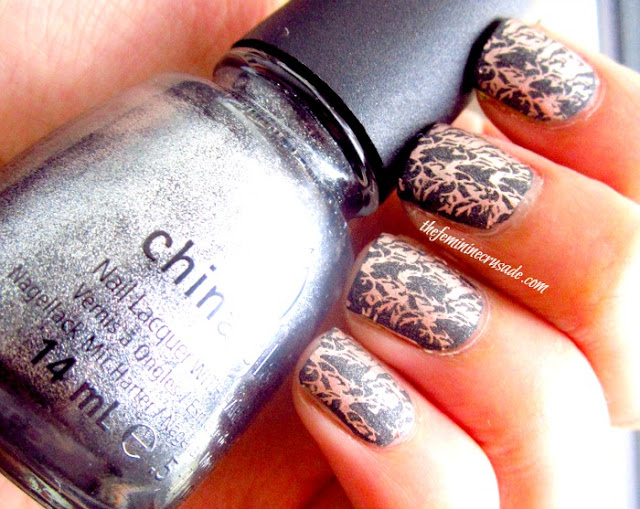 Picture of Stamping Essie Penny Talk over China Glaze Stone Cold