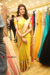 Actress Kajal Agarwal Stills in Golden Silk Saree at Trisha Sesigner Store Launch  0104.jpg