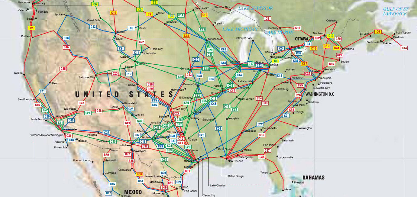 the green coded pipelines are major oil pipelines the red lines are major gas pipelines and the blue lines are product pipelines the keystone xl pipeline