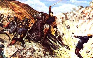 Ilustración de la Batalla de Huamachuco en pleno enfrentamiento