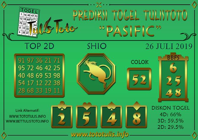 Prediksi Togel PASIFIC TULISTOTO 26 JULI 2019