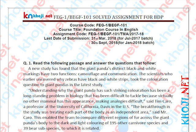 FEG-1 AND BEGF-101 SOLVED ASSIGNMENT FOR IGNOU BDP 2018