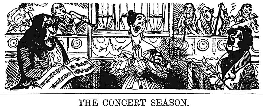 1839 cartoon, the concert season, funny performers