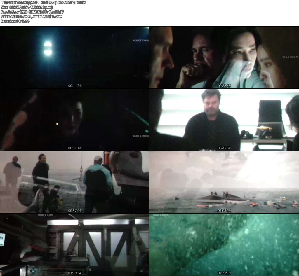 The Meg 2018 Hindi 720p HDCAM x264 | 480p 300MB | 100MB HEVC Screenshot