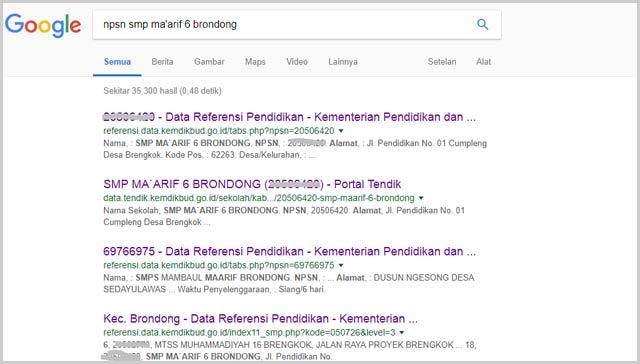 Tampilan pencarian npsn sekolah di google