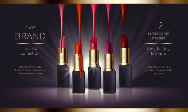 Cosmetic realistic vector ads banner with premium Free Vector