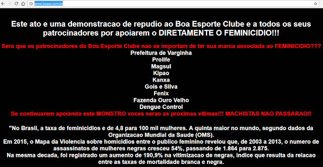 Hackers invadem o site do Boa Esporte.