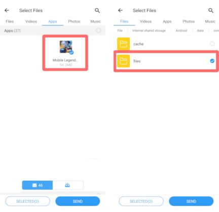 Cara Kirim Data Mobile Legends Tanpa Download Via SHAREit