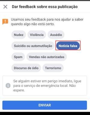 Como denunciar notícias falsas Facebook