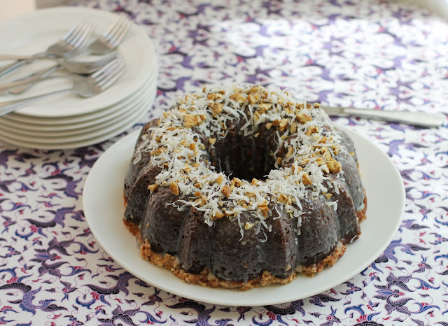 Food Lust People Love: Instead of being topped with the traditional icing, for this inside out German chocolate cake a super chocolaty batter is baked in a Bundt pan filled knee deep in coconut and pecans, with dollops of sweetened buttery cream cheese. When you turn it over, the coconut and pecans create a lovely top and the cream cheese lines the bottom.