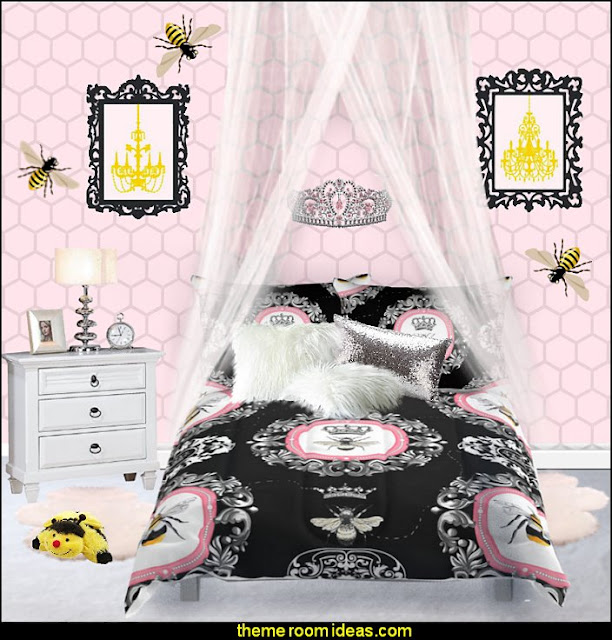 bumble bee bedrooms - Bumble bee decor - Honey bee decor - decorating bumble bee home decor - Bumble Bee themed nursery - bee wallpaper mural decals - Honeycomb Stencil - hexagonal stencils - bees in springtime garden bedroom -  bee themed nursery - black yellow bedroom ideas - Hexagon pattern -