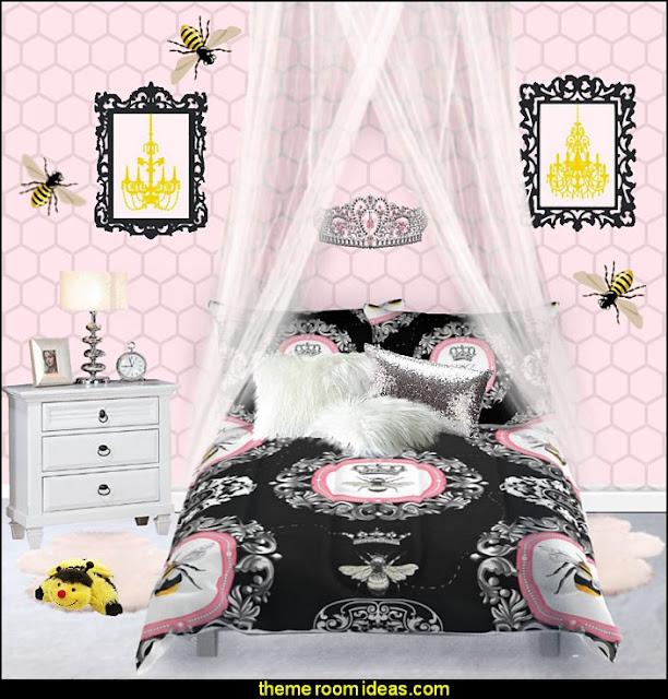 bumble bee bedrooms - Bumble bee decor - Honey bee decor - decorating bumble bee home decor - Bumble Bee themed nursery - bee wallpaper mural decals - Honeycomb Stencil - hexagonal stencils - bees in springtime garden bedroom -  bee themed nursery - black yellow bedroom ideas - Hexagon pattern -