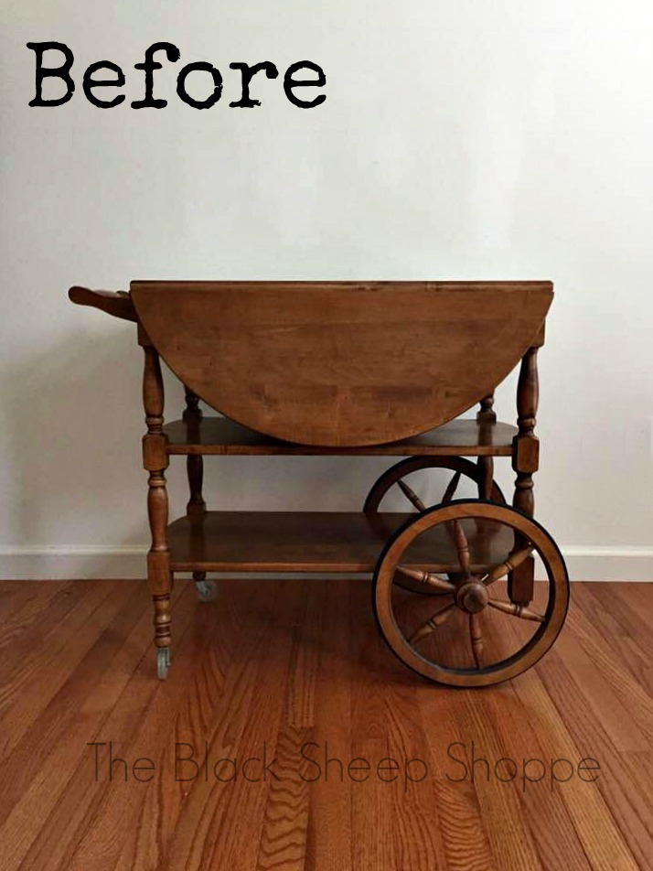 Vintage 1967 tea cart prior to painting.