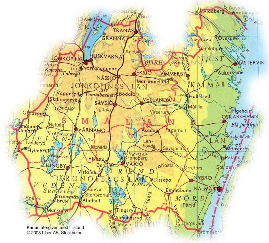 Karta Over Smaland Regionen Karta Over Sverige Geografisk