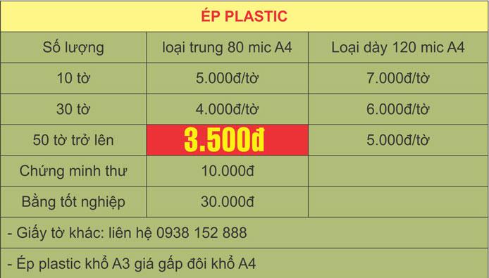 Bảng báo giá ép plastic A4