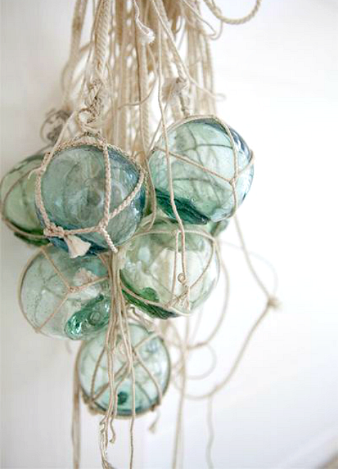 Glass Floats with Netting Wall Hanging