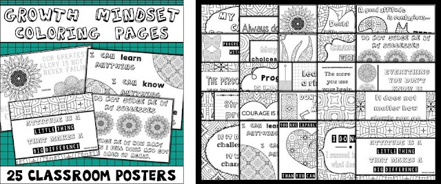 Click here for your Growth Mindset Quotes and Coloring Posters Pack on TpT