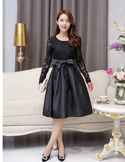 model dress korea brokat kombinasi satin