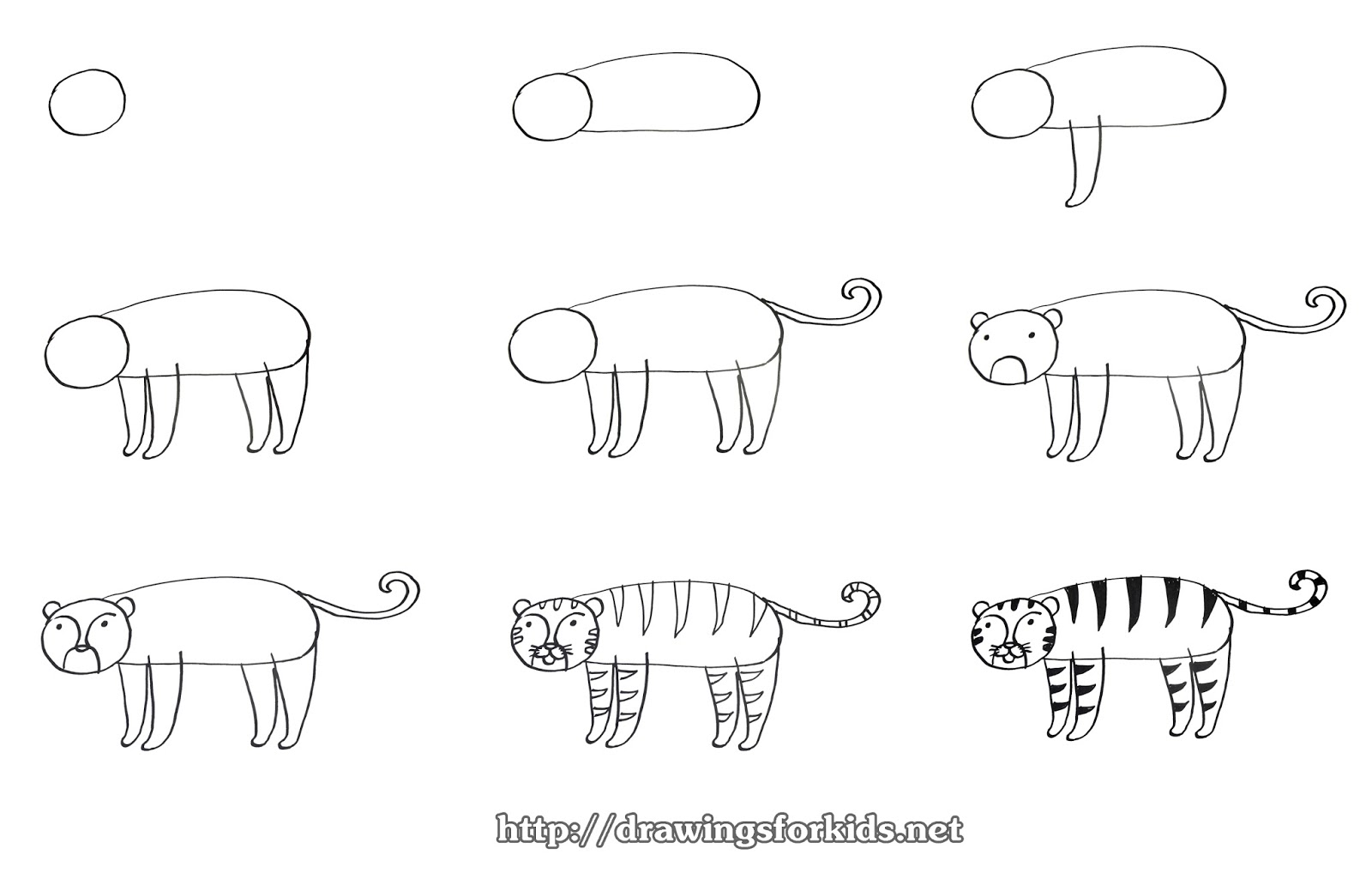 How to draw a Tiger for kids - drawingsforkids.net