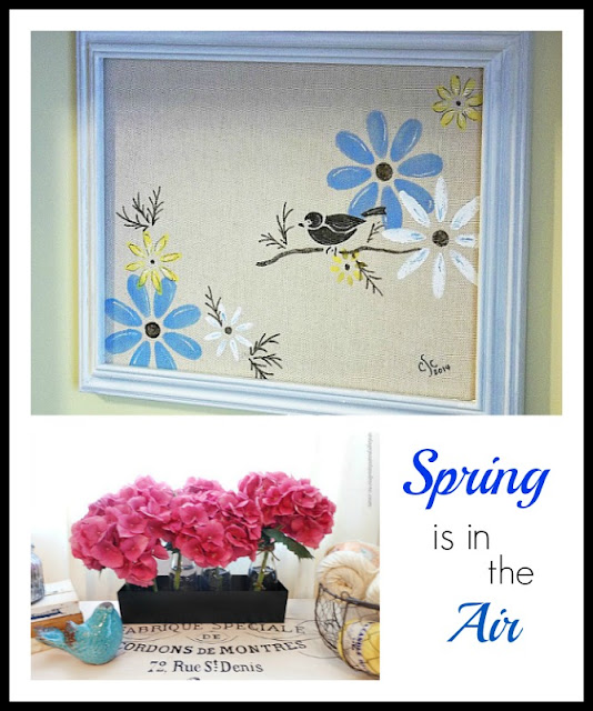 Vintage Paint and more... stenciled bird picture on canvas and beautiful pink hydrangea vingette for Spring decor