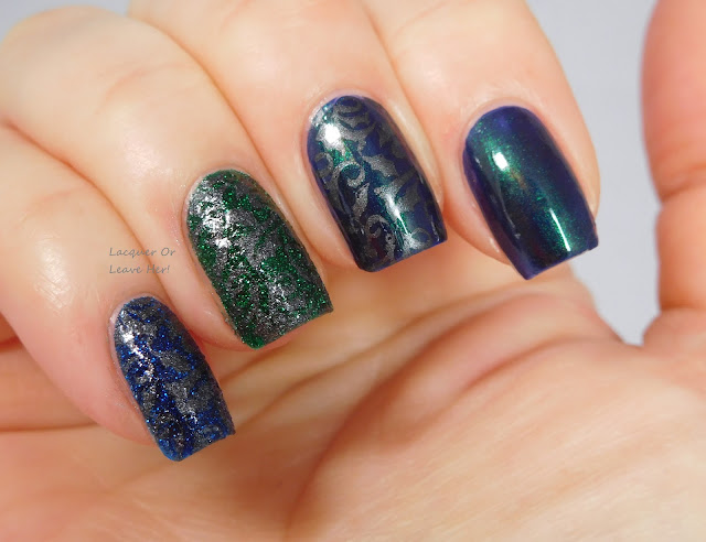 Lina Nail Art Supplies Can't Wait For Xmas! plate over Zoya Enchanted polishes