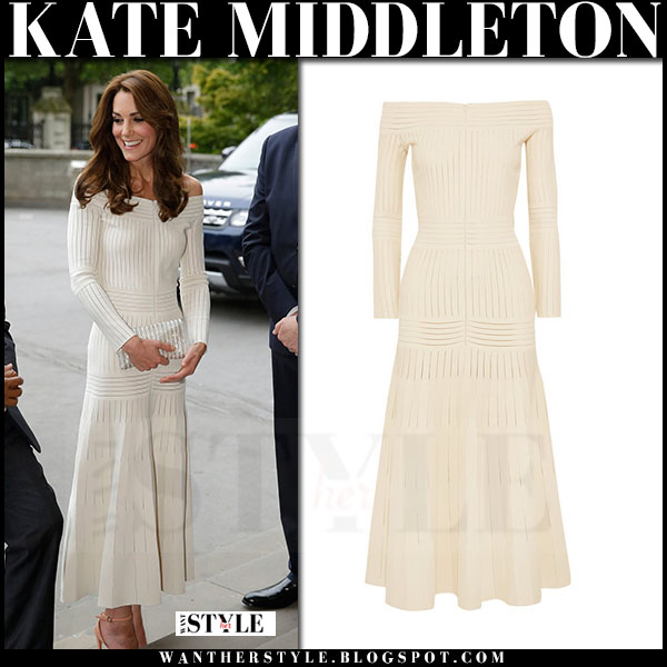 Kate Middleton in ivory off shoulder midi dress barbara casasola what she wore