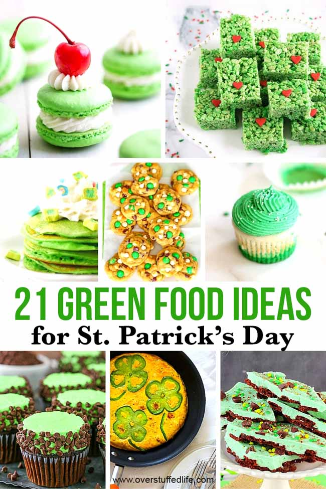 A list of 21 green foods to eat on St. Patrick's Day—find links to green breakfast, green dinner, and green dessert!