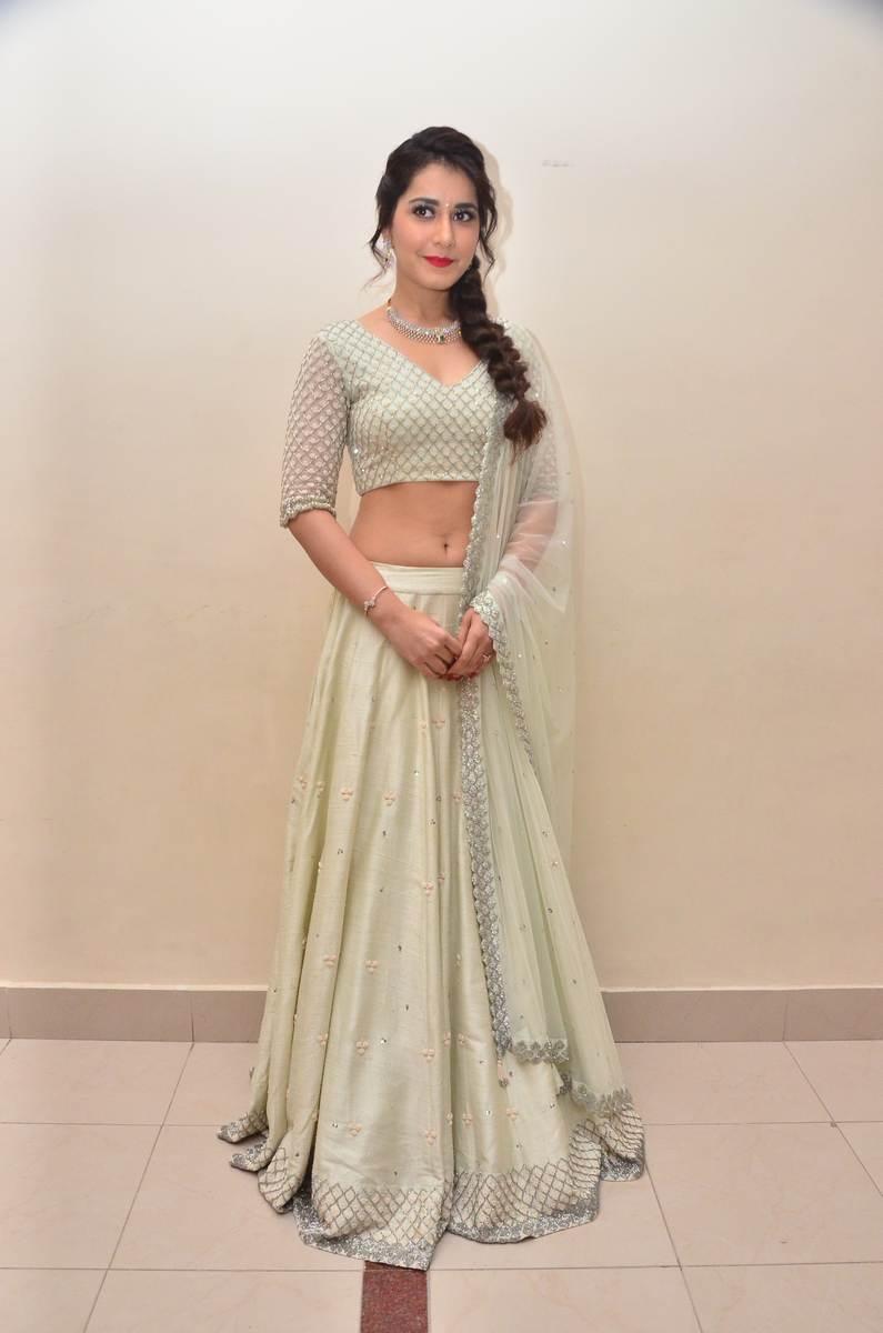 Raashi Khanna White In Blue Lehenga Voni