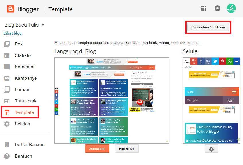cara upload template blogger
