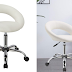 Work Stool WY-171XF Crescent Adjustable Swivel Task Chair on Wheels Duhome (White)