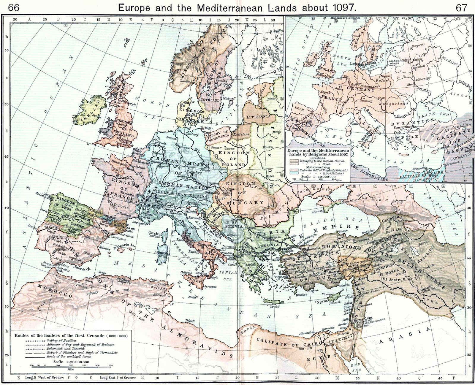 Europe and the Miditerranean lands about 1097