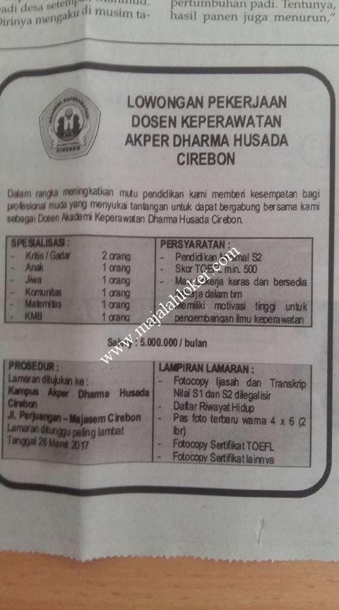 Lowongan Pekerjaan Gaji 5 5 Jt Dosen Akademi Keperawatan Akper Dharma Husada Cirebon 2017 Lowongan Dosen