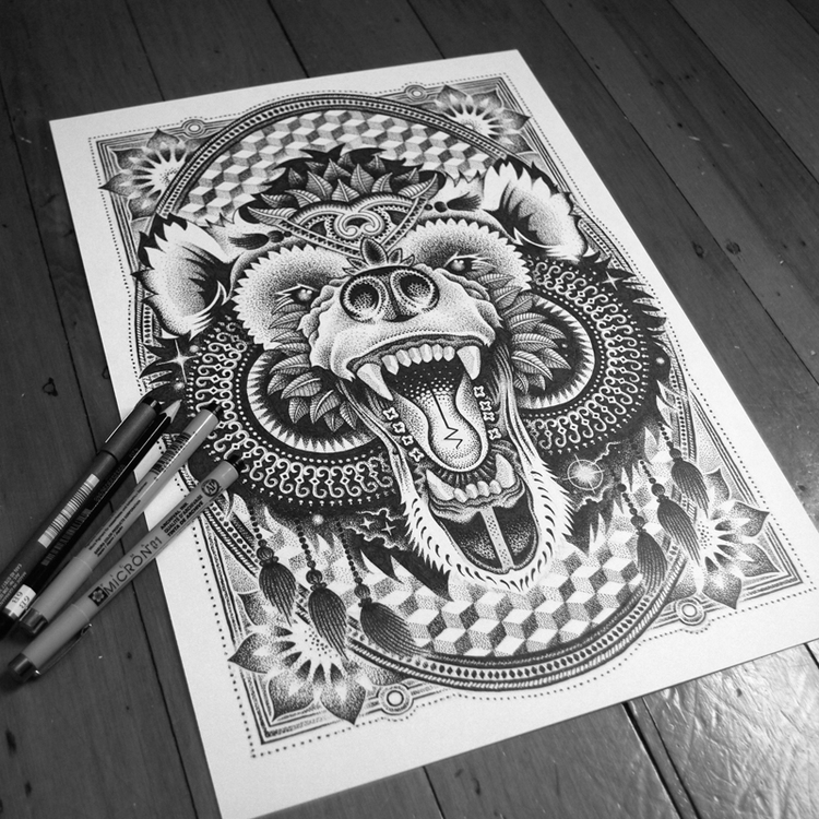 05-Bear-Tony-Graystone-Neon-Mystic-Black-and-White-Drawings-www-designstack-co